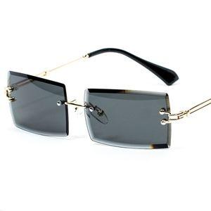 Rimless Gold Black Rectangular Mens Sunglasses